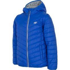 Kurtka puchowa 2w1 dla dużych dziewcząt JKUDP202 - kobalt. Brązowe kurtki chłopięce przejściowe marki 4F JUNIOR, na lato, z dzianiny. Za 79,99 zł.