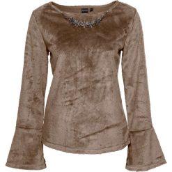 Sweter z łańcuszkiem bonprix beżowy melanż. Brązowe swetry klasyczne damskie bonprix, z dekoltem w łódkę. Za 79,99 zł.