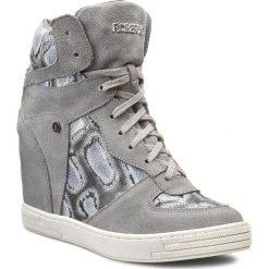 Buty zimowe damskie: Sneakersy ROBERTO – 475  Szary Welur/Szary Wąż