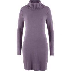 Sukienka dzianinowa z golfem, długi rękaw bonprix matowy lila. Fioletowe długie sukienki marki bonprix, z dzianiny, z golfem, z długim rękawem. Za 49,99 zł.