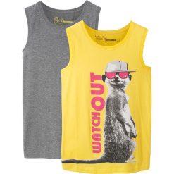 Koszulka bez rękawów (2 szt.) bonprix limonka z nadrukiem + szary melanż. Żółte bluzki dziewczęce z nadrukiem bonprix, z okrągłym kołnierzem, bez rękawów. Za 35,98 zł.