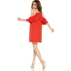 Sukienki balowe: Modna sukienka z odkrytymi ramionami czerwony