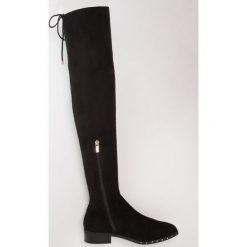 Topshop DOLLAR HIGH LEG Muszkieterki black. Czarne buty zimowe damskie marki Topshop, z materiału. W wyprzedaży za 237,30 zł.