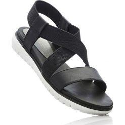 Sandały bonprix czarny. Czarne sandały damskie marki bonprix, w paski. Za 79,99 zł.
