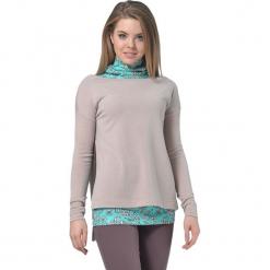 Zestaw w kolorze turkusowo-beżowym - top, sweter. Brązowe swetry klasyczne damskie Lila Kass, xxs, z dekoltem w łódkę. W wyprzedaży za 249,95 zł.