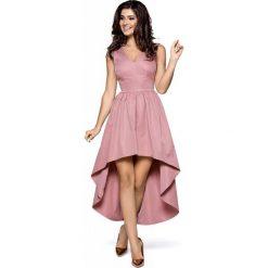 Sukienki balowe: Różowa Wieczorowa Sukienka z Wydłużonym Tyłem