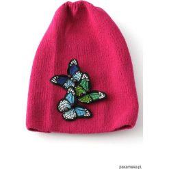 Czapka fuksjowa z motylami. Niebieskie czapki zimowe damskie Pakamera, na jesień. Za 65,00 zł.