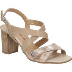 Sandały skórzane na słupku Tamaris 1-28011-38. Brązowe sandały damskie na słupku marki Tamaris. Za 139,99 zł.
