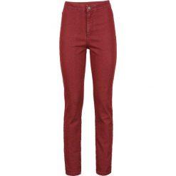Dżinsy SKINNY z wysoką talią bonprix czerwony. Czerwone jeansy damskie marki OLAIAN, z materiału, sportowe. Za 44,99 zł.