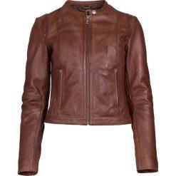 Bomberki damskie: Skórzana kurtka w kolorze brązowym