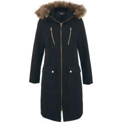 Płaszcz z materiału w optyce wełny bonprix czarny. Czarne płaszcze damskie wełniane bonprix. Za 189,99 zł.