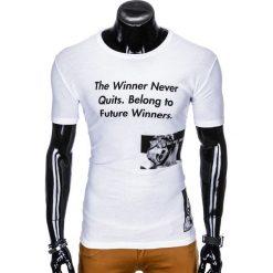 T-SHIRT MĘSKI Z NADRUKIEM S996 - BIAŁY. Białe t-shirty męskie z nadrukiem marki Ombre Clothing, m. Za 29,00 zł.