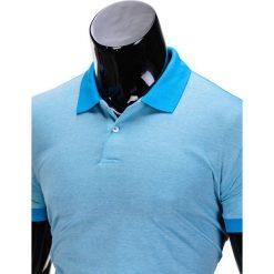 KOSZULKA MĘSKA POLO BEZ NADRUKU S847 - BŁĘKITNA. Niebieskie koszulki polo marki Ombre Clothing, m, z nadrukiem, z bawełny. Za 35,00 zł.