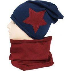 Dziecięca czapka bawełniana z kominkiem W-084A granatowo-bordowa r. 48-50. Czerwone czapeczki niemowlęce marki Proman, z bawełny. Za 44,27 zł.