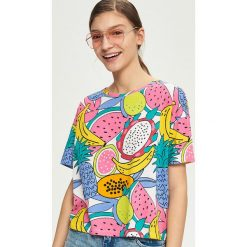 T-shirty damskie: T-shirt z tropikalnym wzorem – Biały