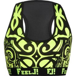 Topy sportowe damskie: Feelj Top Push-up Etno limonkowy r. M