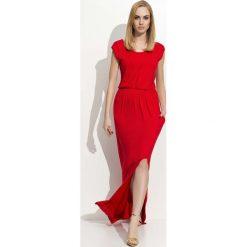 Czerwona Maxi Sukienka z Rozcięciem na Boku. Czerwone długie sukienki marki Molly.pl, na co dzień, l, z dzianiny. Za 92,90 zł.