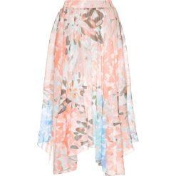 Spódniczki rozkloszowane: Spódnica szyfonowa z nadrukiem bonprix brzoskwiniowo-łososiowy z nadrukiem