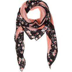 Chusty damskie: Chusta w kolorze czarno-jasnoróżowym – 85 x 85 cm