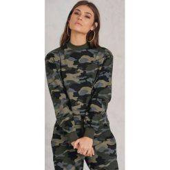 Bluzy damskie: NA-KD Trend Bluza basic moro – Green,Multicolor