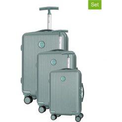 Walizki: Zestaw walizek w kolorze zielonym – 3 szt.