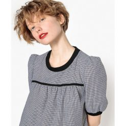 Bluzki asymetryczne: Wzorzysta bluzka z okrągłym dekoltem i bufiastymi rękawkami