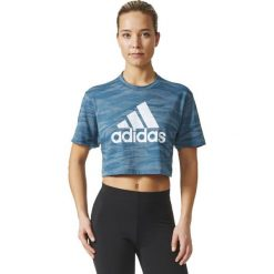 Topy sportowe damskie: Adidas Koszulka damska AEROKNIT CROP T niebieska r. M (BQ5793)