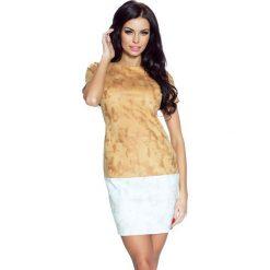 Sukienki hiszpanki: Achira – piękna dwukolorowa krótka sukienka brąz-beż