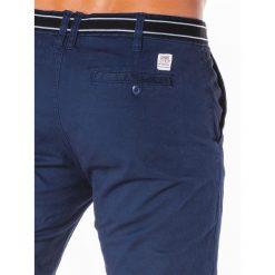 SPODNIE MĘSKIE CHINO P156 - GRANATOWE. Niebieskie chinosy męskie marki Ombre Clothing, z aplikacjami, z bawełny. Za 59,00 zł.