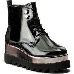 Botki LANQIER - 41C168 Czarny. Czarne buty zimowe damskie Lanqier, z lakierowanej skóry, na obcasie. W wyprzedaży za 239,00 zł.
