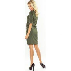 DOROTA Sukienka z kołnierzykiem - KHAKI. Zielone sukienki na komunię marki numoco, s, melanż. Za 139,99 zł.