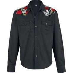 Banned Alternative Skull Rose Koszula czarny. Białe koszule męskie na spinki marki bonprix, z klasycznym kołnierzykiem, z długim rękawem. Za 164,90 zł.