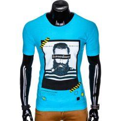 T-SHIRT MĘSKI Z NADRUKIEM S994 - TURKUSOWY. Niebieskie t-shirty męskie z nadrukiem Ombre Clothing, m. Za 29,00 zł.