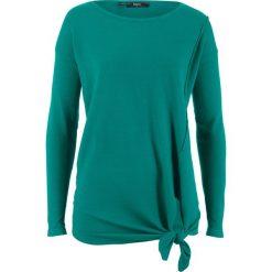 Swetry klasyczne damskie: Sweter z dzianiny o gładkim splocie z przewiązaniem bonprix dymny szmaragdowy