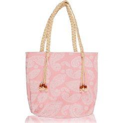 """Torba plażowa """"Paisley"""" w kolorze różowym - 40 x 50 cm. Czerwone shopper bag damskie Begonville, paisley, z bawełny. W wyprzedaży za 108,95 zł."""
