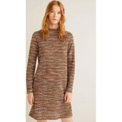 Mango - Sukienka Jaspe. Brązowe długie sukienki Mango, na co dzień, l, z bawełny, casualowe, z długim rękawem, proste. Za 139,90 zł.