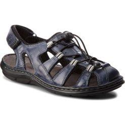 Sandały męskie skórzane: Sandały LASOCKI FOR MEN – MI07-A426-A282-27 Granatowy