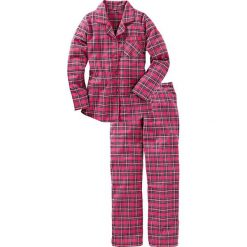 Piżamy damskie: Piżama flanelowa bonprix różowy w kratę