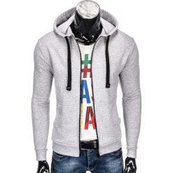 Bluzy męskie: BLUZA MĘSKA ROZPINANA Z KAPTUREM B671 – SZARA