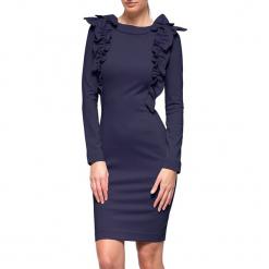 Sukienka w kolorze granatowym. Niebieskie długie sukienki marki YULIYA BABICH, xs, z dekoltem na plecach, z długim rękawem. W wyprzedaży za 419,95 zł.