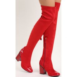 Czerwone Kozaki Reach the Sky. Czerwone buty zimowe damskie vices, na wysokim obcasie. Za 99,99 zł.