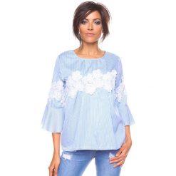 """Bluzki asymetryczne: Koszulka """"Yona"""" w kolorze błękitno-białym"""