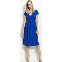 Sukienki: Chabrowa Sukienka Midi z Marszczeniami