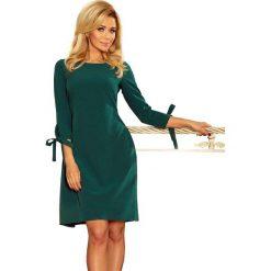 Sukienki: Zielona Sukienka z Kokardkami i Paskiem