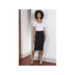 Ołówkowa spódnica midi z lampasami, SP117. Czarne minispódniczki Lanti, eleganckie, dopasowane. Za 109,00 zł.
