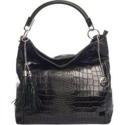 Torebki klasyczne damskie: Skórzana torebka w kolorze czarnym – 44 x 55 x 15 cm