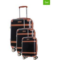 Zestaw walizek w kolorze czarnym - 3 szt. Czarne walizki marki Platinium, z materiału. W wyprzedaży za 769,95 zł.