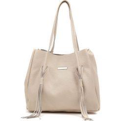 Shopper bag damskie: Skórzany shopper bag w kolorze beżowym – 49 x 28 x 17 cm