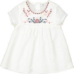 Sukienka z krótkim rękawem, ozdobiona haftem 1 m-c - 3 lata. Szare sukienki dziewczęce marki La Redoute Collections, z haftami, z bawełny, z krótkim rękawem, krótkie, mini. Za 88,16 zł.