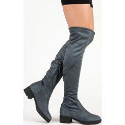 ZAMSZOWE KOZAKI NAD KOLANO. Szare buty zimowe damskie QUEENTINA, z zamszu. Za 85,00 zł.